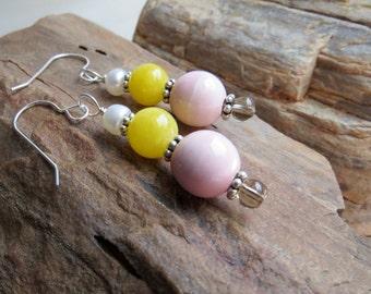 ice cream earrings . GEM SUNDAE . Bali silver earrings . freshwater pearl earrings . agate earrings . yellow and pink earrings . summer love