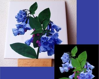 Bluebells ceramic tile, floral trivet, flower, garden, Mother's day gift, spring wild flower, Mertensia, blue , kitchen 1324
