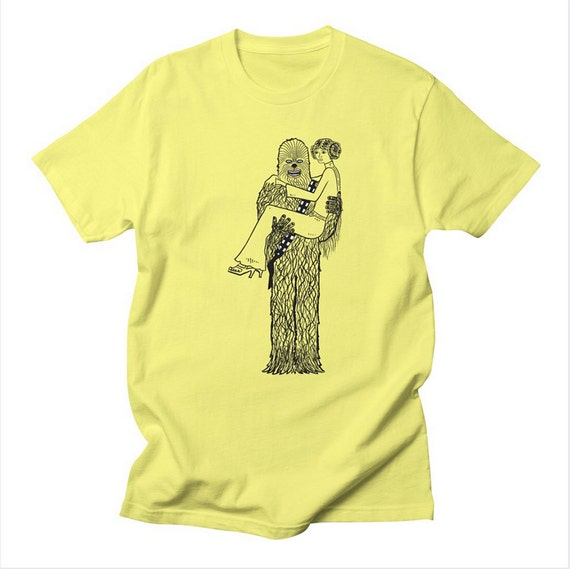 Chewy Finds a Girlfriend - Mens / Womens - Star Wars inspired - parody - Pop Culture - humorous / funny T-shirt / Tee - iOTA iLLUSTRATiON