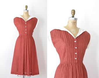 1940s Cotton Dress / 40s Shawl Collar Day Dress