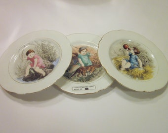 French Plates Wall Decor, Wall Collage, Mid 19th Century, Set of 3, Vintage/Antique China