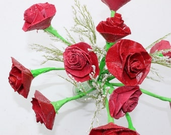 Upcycled Duct tape Like Flowers Red Roses Made from recycled paper great for mothers day valentines day