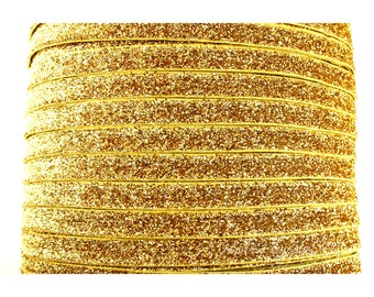 Gold Glitter Elastic 3/8 inch - Choose from 1-10 yards for Headbands Hair Ties Baby Headband Hairbow Supplies, Etc.