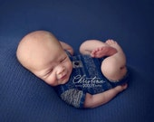 newborn boy romper (Eliot) - photography prop - blue, navy, grey, black, onesie, outifit