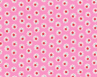 Japanese Lecien - Flower Sugar Fall 2014 Fabric - Tiny Flower Doily in Pink - cotton quilting fabric - choose your cut