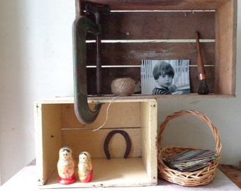 Vintage Pair of Wooden Crates - Rustic shelving