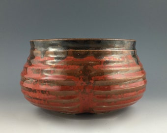 Toyo Japan plant pot in deep red-orange glaze