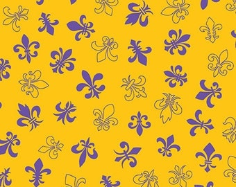 Fleur de Lis Gold and Purple by Andover
