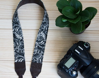 B03-Black and White Camera Strap for DSLR  , Mirror Less ,Compact