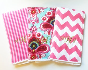 Monogrammed Burp Cloth Trio - French Wallpaper - Personalized Burp Cloth Gift Set - Embroidered Baby Shower Gift - Chevron Stripes