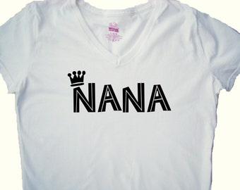 Nana Shirt, Tops and Tees - Grandma Nana gift - New Nana - gift for her-V neck custom printed- FREE US SHIPPING