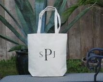 Personalized Eco Friendly Monogram Medium Natural Canvas Reusable Gift Bag, Wedding Welcome Bag, Groomsmen Gift Bag, Bachelor Gift Bag