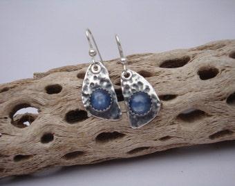 Kyanite Fine Silver Tear Drops - PMC Earrings - Silver and Kyanite Earrings