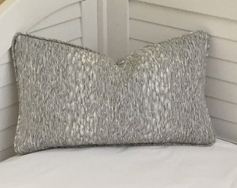 Kravet Chromis in Metal Gray Linen Designer Lumbar Pillow Cover with Self Piping