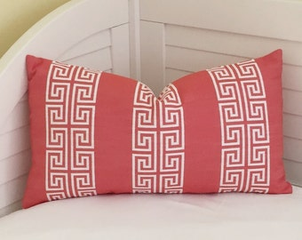Coral Melon and White Greek Key Designer Lumbar Pillow Cover