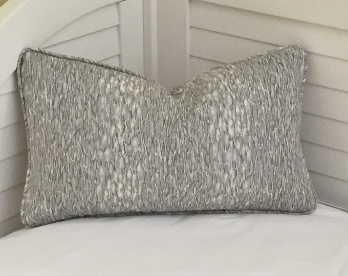 Kravet Chromis in Metal Gray Linen Designer Lumbar Pillow Cover with Self Piping