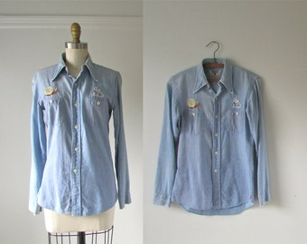 vintage 1970s denim shirt / chambray embroidered shirt