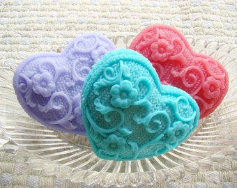 Heart Soap.  Rich and Moisturizing Shea butter soap.  One Soap. Many colors available. Great gifts! Pretty woven pattern.