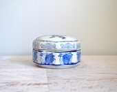Vintage Chinoiserie Trinket Dish, Blue White Chinese Ceramic Container with Lid, Bird Design, Octagon