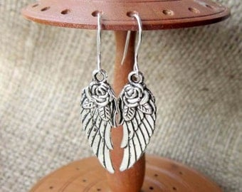 Angel wings silver dangle earrings - Sterling silver hooks angels wing with rose flower