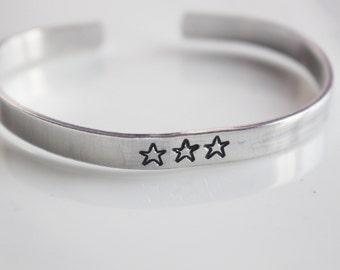 Three Stars bracelet / Hand Stamped Aluminium Bracelet with  Three Stars /