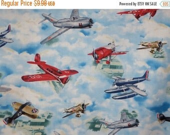 ON SALE Colorful Vintage Airplane Print Pure Cotton Fabric--One Yard