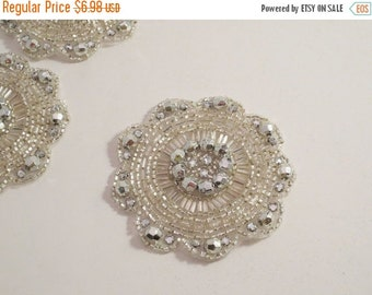 ON SALE Round Crystal and Rhinestone Beaded Applique--One Piece