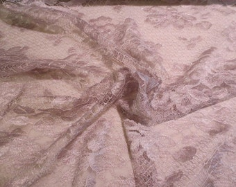 Mauve Gray with Silver Floral Design French Chantilly Lace Fabric--By the Yard