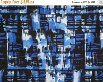ON SALE Fabulous Royal Blue and Black Abstract Print Pure Cotton Broadcloth Fabric--One Yard