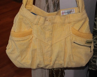 Yellow Corduroy Purse with Blue Lining