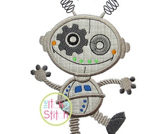 """Robot 2 Applique Design For Machine Embroidery, Shown with our """"Bridgetown"""" Font NOT Included,  INSTANT DOWNLOAD now available"""