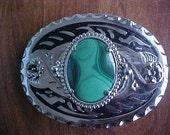 Silver Look Green Malachite Western Belt Buckle 30 x 40mm Stone