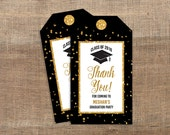 Personalized Graduation Favor Tags, Black & Gold Glitter Thank You Tags, DIY Printable, PERSONALIZED
