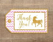 Unicorn Printable Favor Tags, Pink & Gold Glitter Unicorn Thank You Tags, INSTANT DOWNLOAD