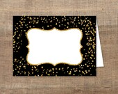 Printable Food Tent Cards, Black & Gold Glitter Food Labels, Blank Shower Place Cards, Gold Confetti, INSTANT DOWNLOAD