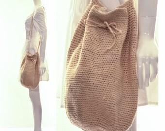 Vintage 70s Natural MINIMALIST Macrame Hobo Bag Crossbody bag BOHEMIAN CHIC Festival Bag