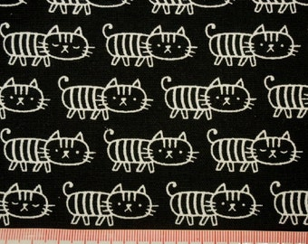 """Lines and cat - 2 yards - cotton linen - 2 colors - cat fabric ,Check out with code """"5YEAR"""" to save 20% off"""