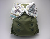 One Size Cloth Diaper - Train Embellished Waist with Olive PUL and White Microfleece