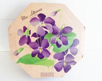 Vintage Mrs. Stevens Candy Box, Purple Violets, Button Storage Box, Advertising Candy Box