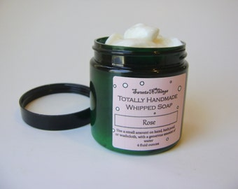Rose Whipped Soap, Cream Soap in a Jar, Natural Vegan Soap