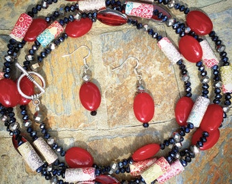 Extra-long Red Stone Necklace and Earring Set