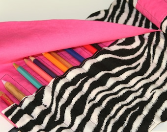 Deluxe Pencil or Crochet Hook Roll/Case - Zebra Print with Bright Pink Contrast