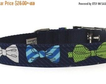 BIG SALE Dog Collar with metal buckle- The Gentleman Bow Tie