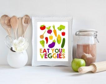 Eat Your Veggies | Kitchen Art | Wall Art | Subway Art | Kitchen Decor | Dining Room | 5x7 | 8x10 | 11x14 | 16x20