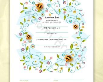 Digital/Editable Download- Simchat Bat Certificate, Baby naming, bees
