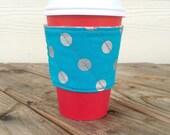 Polka Dots Reversible Coffee Cozy To Go Cup Chevron Christmas Stocking Stuffer