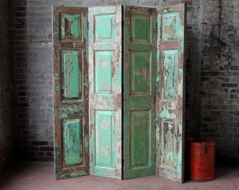 SALE Vintage Indian Screen Salvaged Doors Wood Room Divider Headboard Distressed Green Industrial Farm Chic Import Furniture