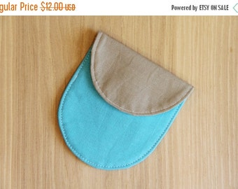 FINAL CLEARANCE Camera Lens Cap Holder with Memory Card Pocket  - turquoise and tan - holds up to 77mm - Ready to Ship