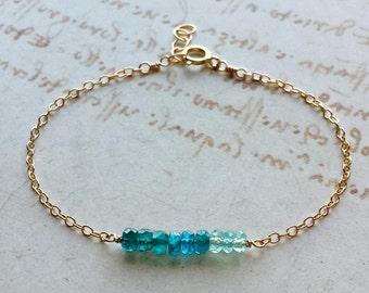 Aqua Ombre Bracelet, Apatite Bracelet, Teal Gemstone Bracelet, Apatite Anklet, Blue Gemstone Anklet, Tiny Gemstone Bracelet