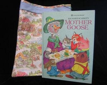 "Vintage Richard Scarry"" Mother Goose"", and homemade bookbag"